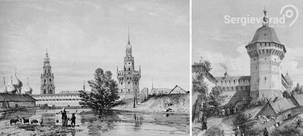 Гравюра башни Троице-Сергиевой Лавры