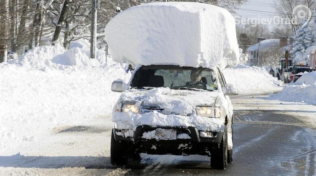 Зима машина снег