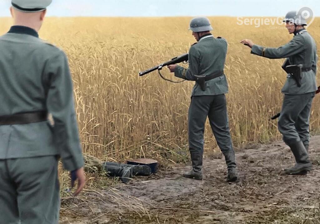 расстрел фашистом советского бойца