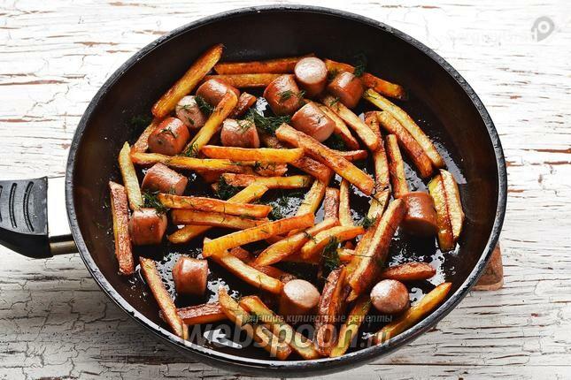 картошка жареная с сосисками