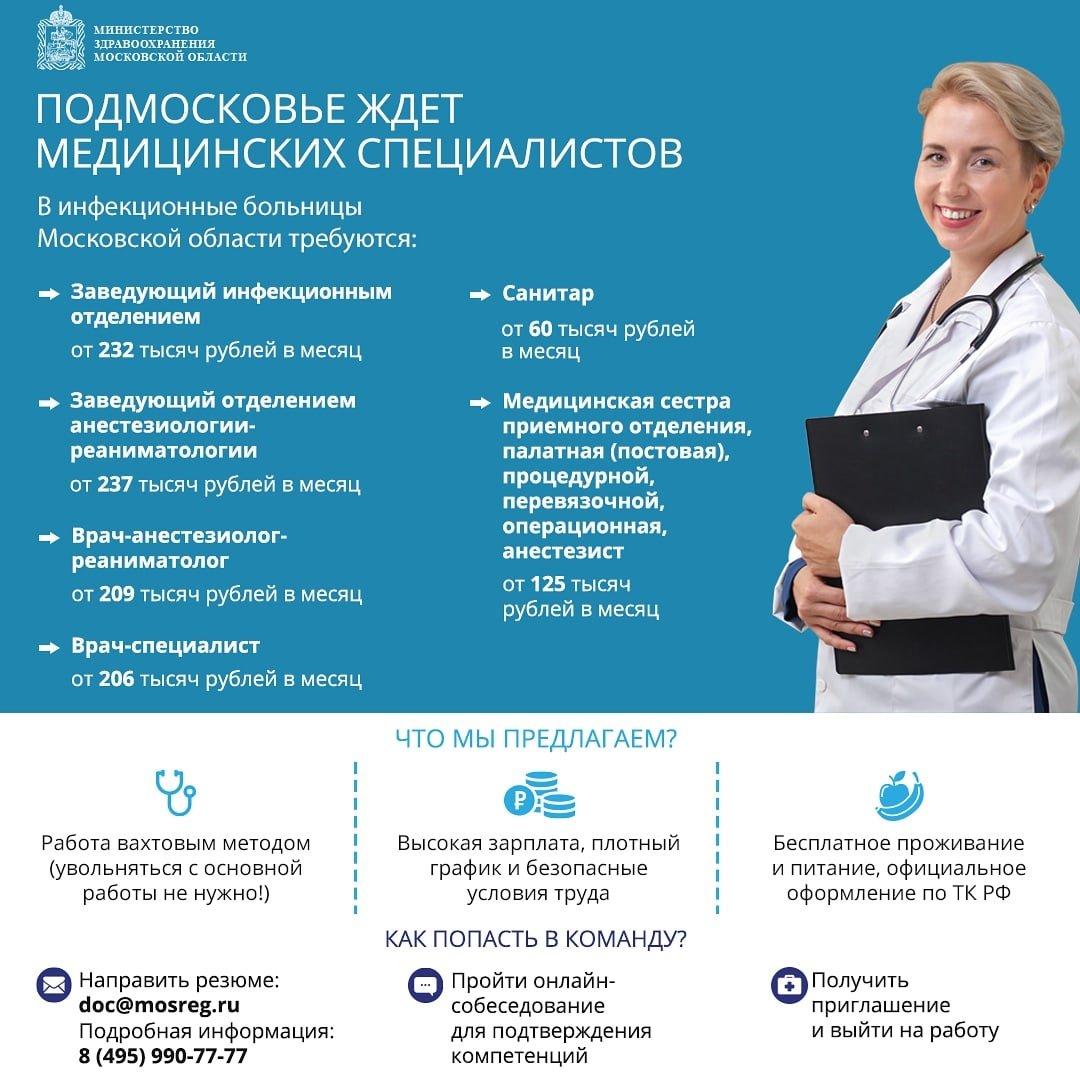 в московской области открыты вакансии врачей в инфекционных больницах